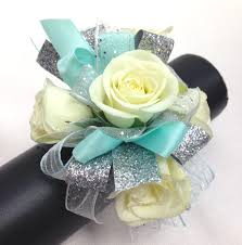 prom wrist corsage ideas turquoise and silver wrist corsage by ballard blossom prom