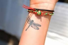 small grey dragonfly on wrist