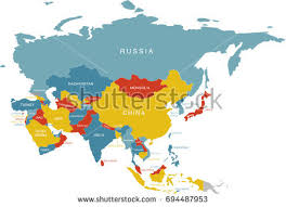 asia map no labels colorful labeled map asia russia labels stock vector 694487953