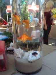 Goldfish In A Vase Easy Centerpiece Globe Or Cylinder With An Ocean Or Beach Theme