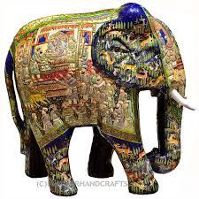 royal blue decorative papier mache embossed elephant sculpture