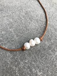 choker necklace with pearls images Three pearl choker necklace tan luna boutique JPG