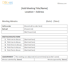 meeting minutes sample plain table format dotxes