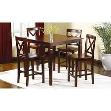 5 pc mahogany dining room dinette counter height table and chairs