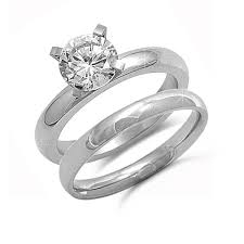 wedding sets stainless steel solitaire cz wedding sets kriskate co