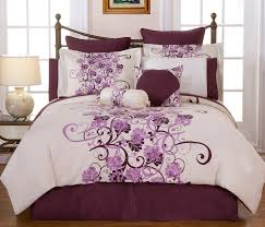 white duvet cover with purple flowers 484