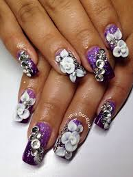 3d flowers and bling purple white and black acrylic nails