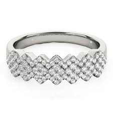 diamond studded diamond studded wide multi diagonal pattern ring in 14k white gold