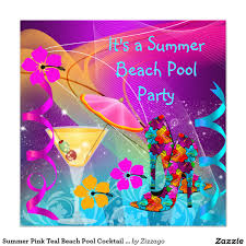 summer pink teal beach pool cocktail party card party time