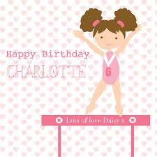 gymnastic birthday personalised card by buttongirl designs