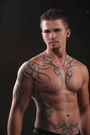tribal on chest and right half sleeve