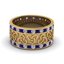 male rings vintage images Diamond celtic wedding band with sapphire in 14k yellow gold jpg