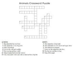 kids crossword puzzles print your animals crossword puzzle jpg