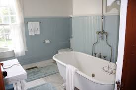 Bathroom  Charming Blue Ceramic Wall Tile Also Freestanding Tub - Bathroom designs with freestanding tubs