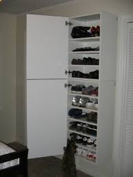 simple and minimalist designed wooden ikea shoe closet ideas which