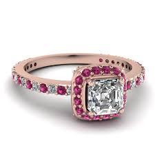 asscher cut diamond engagement rings 14k rose gold asscher cut pink sapphire halo engagement rings