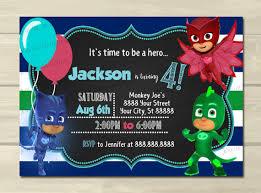 pj mask birthday invitations pj mask personalized5x7 pj masks