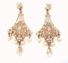 Bridal Earrings Chandelier by Jewels Swarovski Rose Gold Swarovski And Pearls Bridal