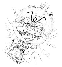 cat chat to typing on mobile phone pencil sketch stock
