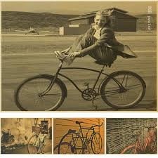 classic bicycle vintage poster bike retro ride wall art sticker