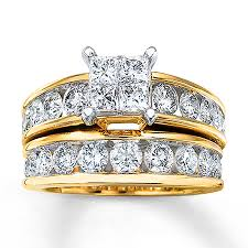 gold bridal set diamond bridal set 3 carats tw 14k yellow gold