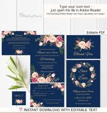 navy wedding invitation template boho chic wedding invitation