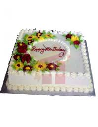square cake white square cake with yellow flower send gift to bangladesh gift