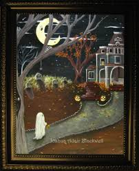 halloween folk art hand painted canvas fantasy painting by j a