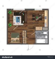 floor plan of studio apartment architectural color floor plan studio apartment stock vector
