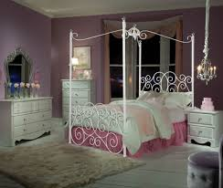 White Princess Bed Frame Bedroom Single Bed With White Bedding With Pink Bedding In