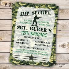army invitation military special forces air soft party camouflage