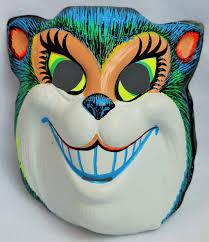 black halloween mask vintage smiling cat halloween mask zest 1960 u0027s 60 u0027s black light