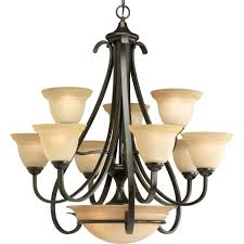 Chandelier Lighting Fixtures by Progress Lighting P4418 77 9 Light Two Tier Torino Chandelier