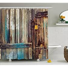 rustic shower curtain by ambesonne aged shed door