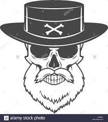 head hunter skull with beard and hat vector rover logo template