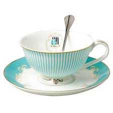 teacup and saucer jusalpha vintage blue bone china teacup spoon and