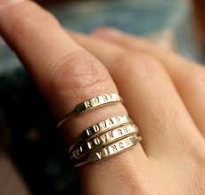 personalized stackable rings stackable name ring initial ring silver id ring gold stacking ring