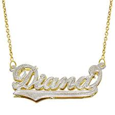Gold Chain With Name Amazon Com 14k Two Tone Gold Personalized Double Plate 3d Name