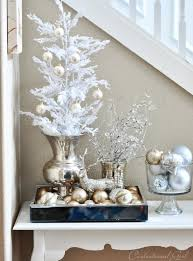 Large Silver Decorative Bowl Silver And White Table Vignette With Trees Tray Of Ornaments And
