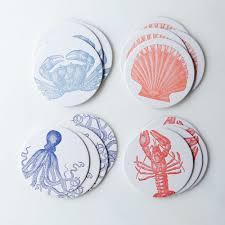 letter press sea letterpress coasters set of 16 on food52