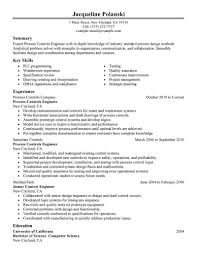 exle of great resume process engineer description template best controls resume