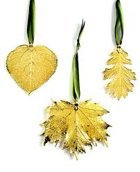 real leaf ornament dipped in precious metals set of 3