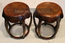 a small pair of chinese wood barrel stools stands 19th century