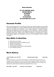 Catering Job Description Resume by Brian Houston Cv