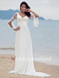 custom made wonderful v neck a line sweep train beach wedding