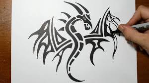 draw tribal dragon tattoo design sketch 3