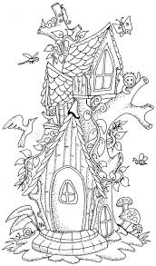 cute fairy tale doodle mushrooms house coloring book