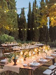 Outdoor Wedding Lights String by Chic Terrace Decoration Idea With Rectangle Wooden Table Also Six