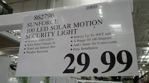 Solar Security Motion Sensor Light by Sunforce 100 Led Solar Motion Security Light Costco Weekender