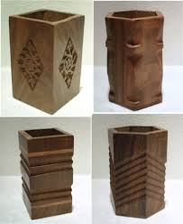 pen pot desk tidy hand carved wood pen pencil pot make up brush